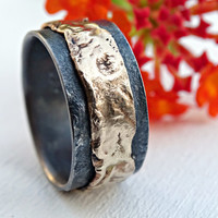 unique mens wedding band gold silver, mens ring gold wedding ring black, silver gold ring molten, viking wedding band, artisan gold ring