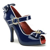 Pleaser Female 4 1/2 Inch Heel, 3/4 Inch Hidden Platform Open Toe Mary Jane With Anchor Bow ANCH22