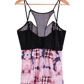 Floral Printed Strappy Cut Out  Romper