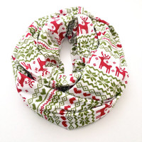 Holiday Fair Isle Infinity Scarf in White with Red and Green- Christmas Scarf
