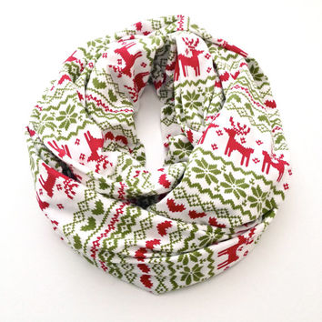 Holiday Fair Isle Infinity Scarf in White, Red and Green with Reindeer, Hearts and Snowflakes