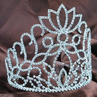 "Spectacular 5.2"" Tiaras with Hair Combs Clear Rhinestone Crystal Crowns Diamante Headpiece Bridal Wedding Pageant Prom"