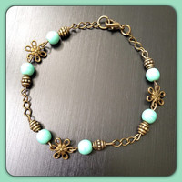 Turquoise and Antique Gold Flower Bracelet - Perfect gift for mom, teen, daughter - Boho - Hippie