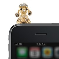 Gold Plated Crystal Moveable Ear Poodle iPhone Jack Anti Dust Plug Cover Stopper (Black Color)