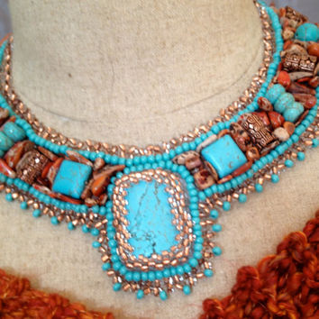 Turquoise, Beaded Necklace, Bead Embroidered Collar, Copper Seed Beads, Picasson Jasper Nuggets