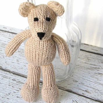 Small Stuffed Animal Teddy Bear, Ready To Ship, Hand Knit Kids Toy, Newborn Photo Prop, Boy Girl Baby Gift, Little Neutral Tan Bear  8 1/4""