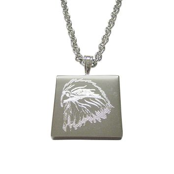 Silver Toned Etched Eagle Bird Head Pendant Necklace