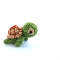 crochet mini turtle, amigurumi miniature turtle, little green turtle, stuffed tiny turtle toy, crochet kawaii animal amigurumi turtle, green