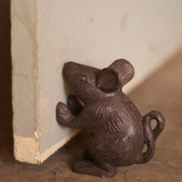 cast iron rustic mouse doorstop or bookend