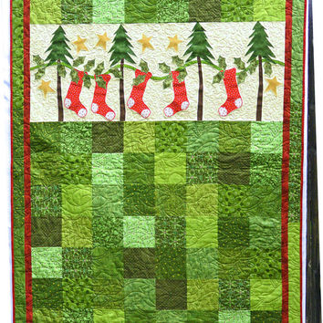 Handmade Applique Christmas Tree and Stocking Wall Hanging or Lap Quilt