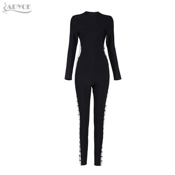 Women Bandage Jumpsuits 2017 Spring New Arrive Black Silver Side Hollow Out O-neck Long Sleeve Fashion Celebrity Runway Jumpsuit