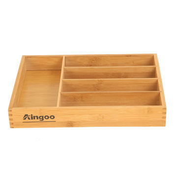 Aingoo High Quality Bamboo Serving Tray Handle Nature 100% Bamboo Kitchen Furniture and Home Furniture Tableware Storage Box