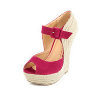 Sueded Mary Jane Jute Wedge: Charlotte Russe