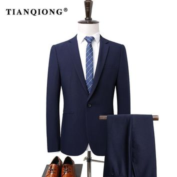 TIAN QIONG Mens Suit Formal Slim Fit  Tunic Suit