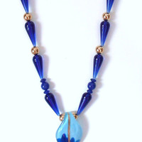 Handmade Beaded Necklace in Graduated Blues