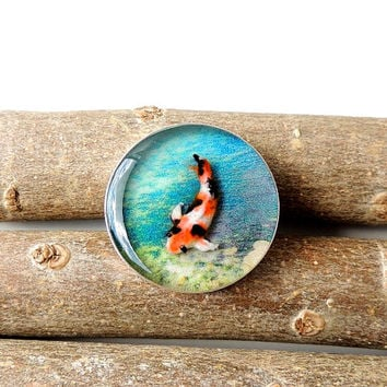 Koi Brooch, Koi Carp Fish Resin Brooch, Koi Jewelry, Resin Jewelry, Swimming Fish, Blue Orange, Diorama Jewelry, UK (064)