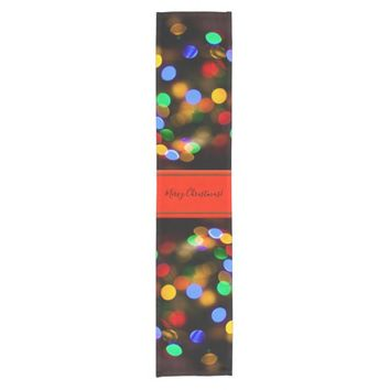 Multicolored Christmas lights. Add text or name. Short Table Runner
