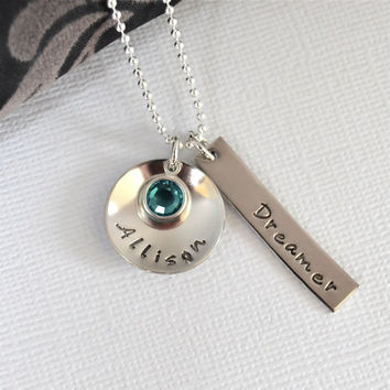 Personalized Hand-Stamped Name Necklace-Custom Word Necklace