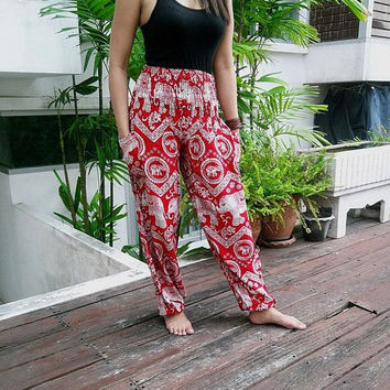 Red Boho Yoga Pants Hippies Gypsy Massage Elephants Print Beach Thailand Batik Tribal Rayon Fabric Exercise Clothing Baggy Summer Women