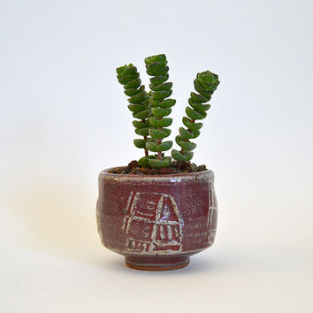 Tiny house pot - vintage studio pottery, abstract home stamped clay pot, red glazed pottery, mini planter, small stoneware pot -2x2