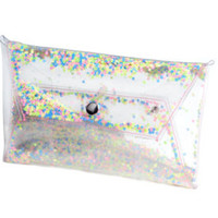 Clear purse clutch transparent bag  glitter clutch sequin glitters sequins jelly bag rainbow purse evening bag prom bags party evening prom