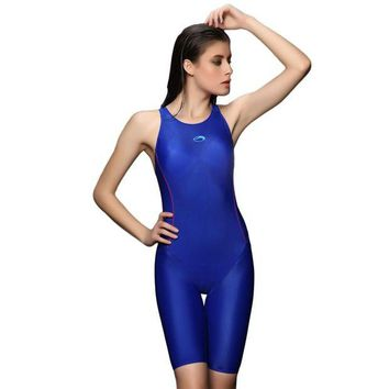 DCCK7N3 Women Wide Strap Racerback Solid One Piece Sports Swimwear Training Racing Competition Technical Swimsuit Neck to Knee Tech Suit