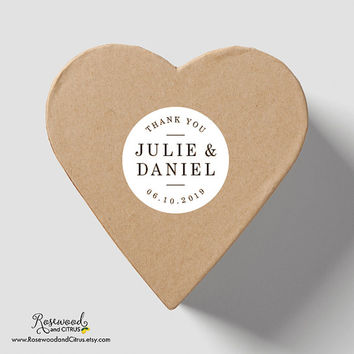 Personalized Wedding Stickers , Modern Wedding Thank You Sticker, Custom Wedding Labels, Wedding Favor Labels, Round Wedding Favor Sticker