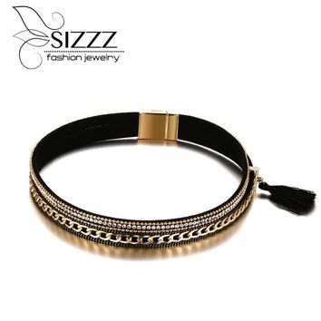 SIZZZ 38.5cm Long 17mm Wide Alloy PU Leather Collar Gold Plating Necklace For Girl/Women