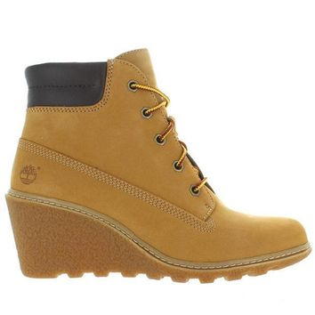 CREYONIG Timberland Earthkeepers Amston 6' - Wheat Nubuck Lace-Up Wedge Boot