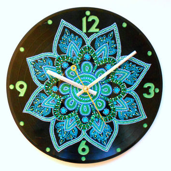 Blue green clock Record clock Handpainted clock Recycled vinyl Design clock Functional art Patterned clock Wall art Mandala decor Gift