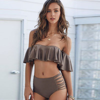 2017 Trending Fashion Boat Neck Off Shoulder Two-Piece Solid Bikini Swim Suit Beach Bathing Suits Swimwear Tube Bra Top Banheau _ 13091