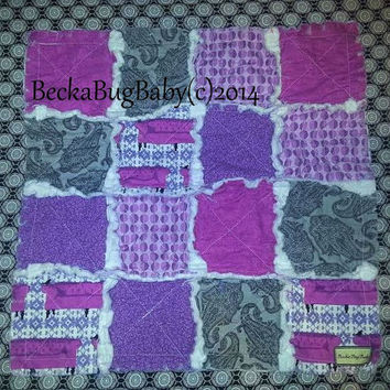 CLEARANCE 50% OFF Purple, Black, Plum Baby Girl Rag Quilt Lovey Ready to Ship  by BeckaBugBaby