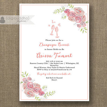 Champagne Brunch Invitation Bridal Shower Modern Pink Bloom Flower Glasses Fizz Wedding Hens Party Lingerie DIY Printable or Printed- Anissa