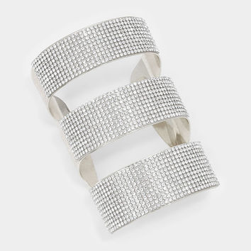 """4"""" height silver crystal cage armor cuff bracelet bangle"""