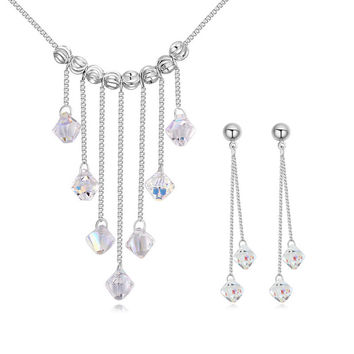Crystals Jewelry Set - Tassle Necklace with Long Earrings Made with Swarovski Elements