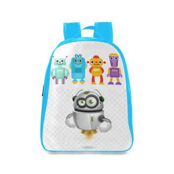 Robots 3 Kids Blue Large School Backpack