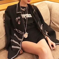 """""""Chanel"""" Women Fashion Personality Lapel Heavy Metal Chain Stitching Long Sleeve Cardigan Suit Coat"""