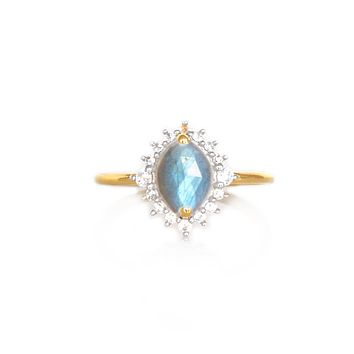 Labradorite and Diamond Flowerburst Ring