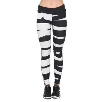 Work Out - Black And White - Women's Fitness Leggings