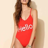 Wildfox Couture Hello One-Piece Swimsuit- Red M