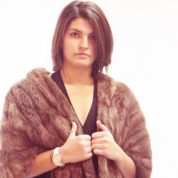 vintage 60s Honey Blonde Mink Fur Collar Stole Cape Jacket deco Bolero Wrap Wedding