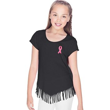 Girls Breast Cancer Tee Embroidered Pink Ribbon Fringe Shirt