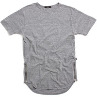 Side Zipper T-Shirt Heather Grey
