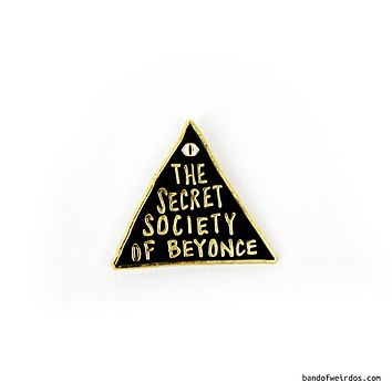 The Secret Society of Beyonce Enamel Pin in Black and Gold