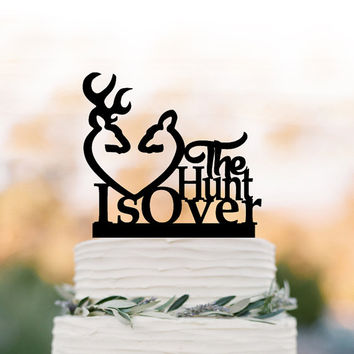 the hunt is over Wedding Cake topper, funny wedding cake toppers deer antler acrylic