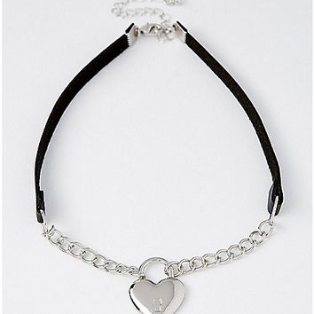 Chain Heart Choker Necklace - Spencer's