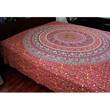 Handmade 100% Cotton Sanganer Floral Mandala Tapestry Tablecloth Spread Twin Red