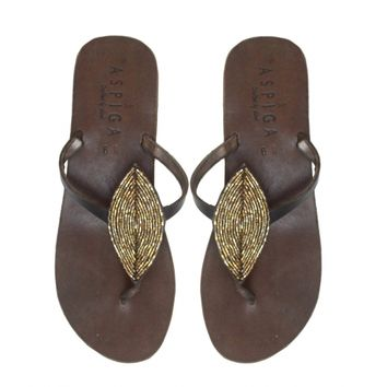 Leaf Bronze Thong Sandals