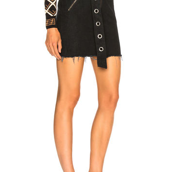 GRLFRND Ava Paperbag Moto Skirt in Blackout | FWRD