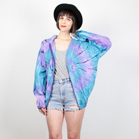 Vintage Bomber Jacket Purple Aqua Teal Blue TIE DYE Windbreaker Jacket Hippie Sport Track Jacket Athletic Slouch Fit 1980s 80s New Wave L XL
